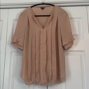 Ann Taylor tan short bell sleeve blouse, size M